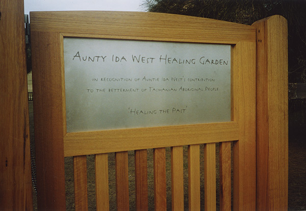 aunite ida west healing garden sign